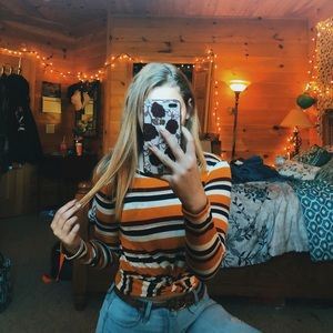 striped cropped long sleeve